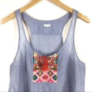 Aerie | Blue tank top with embroidered detail | L